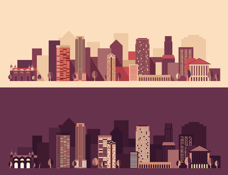 city buildings: Big city, architecture skyscraper skyline vector Illustration flat design