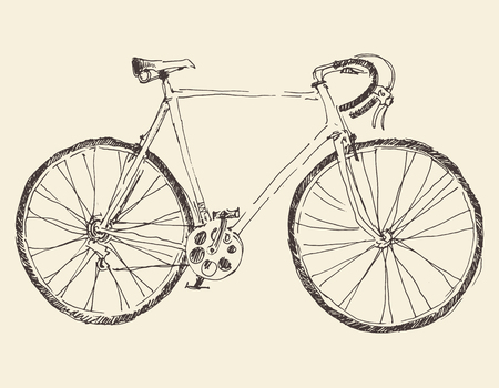 Bicycle vintage illustration, engraved retro style hand drawn sketch vector Illustration