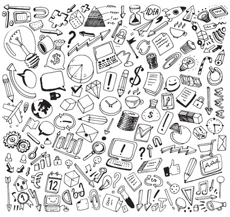 Business Consept high detailed doodles icons set, sketch. Vector illustration, hand drawn background Çizim