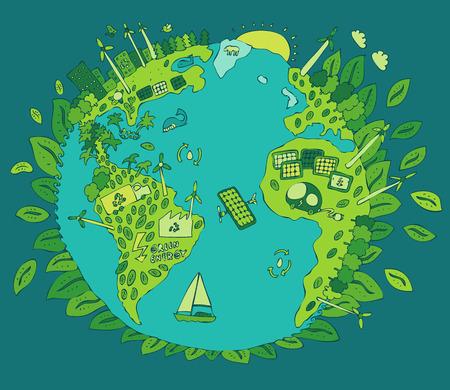 erde: Eco Friendly, grüne Energie-Konzept, Vektor-Illustration, flache Bauform