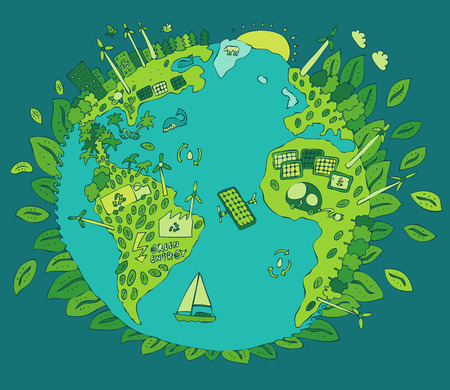 save energy icons: Eco Friendly, green energy concept, vector illustration, flat design