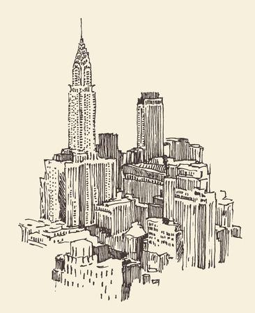 lijntekening: New York stad architectuur, vintage gegraveerde illustratie, hand getrokken Stock Illustratie