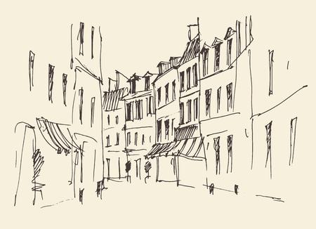 pictorial art: Streets in Paris France Vintage illustration hand drawn