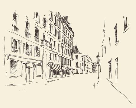 Straten in Parijs Frankrijk Vintage illustratie hand getekend Stock Illustratie