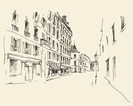 old city: Streets in Paris France Vintage illustration hand drawn