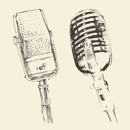 studio microphone vintage illustration, engraved retro style, hand drawn, sketch vector