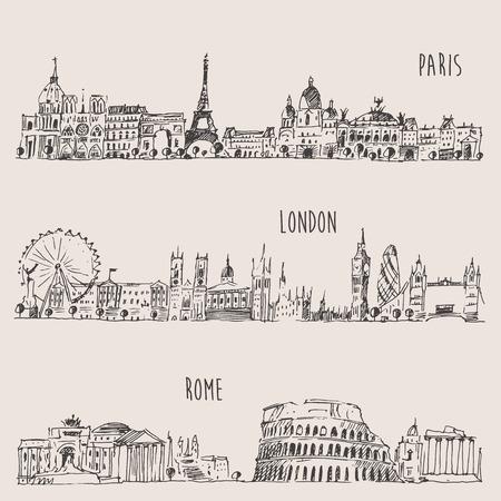 Londra, Parigi, Roma schizzo disegnato a mano d'epoca Archivio Fotografico - 40770014