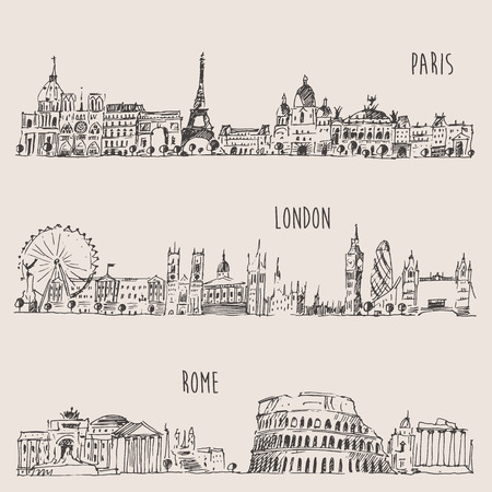 London, Paris, Rome vintage  hand drawn sketch Illustration
