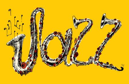 soul music: JAZZ concept, music vintage illustration, engraved retro style, hand drawn, sketch