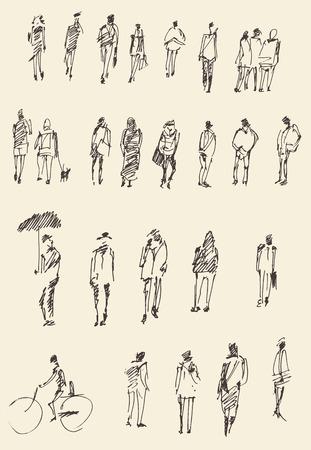 Persone, uomo e donna e bambini uomini schizzo illustrazione vettoriale, silhouette Archivio Fotografico - 40770022