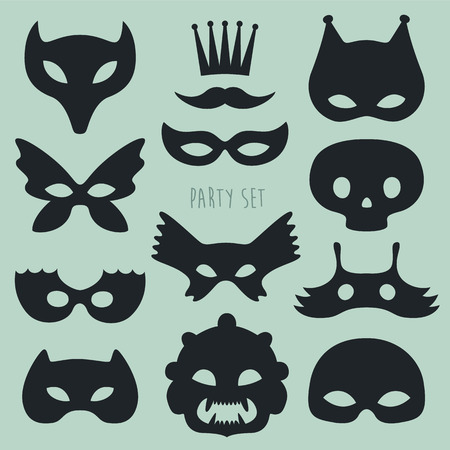 masks: Collection of black carnival masks, crown and mustacht and disguises Illustration