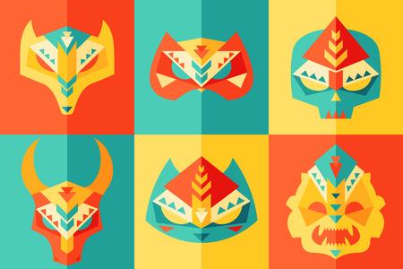 carnival: Conjunto de tribal, étnico, origami, animales, conjunto de máscara africana y disfraza diseño plano
