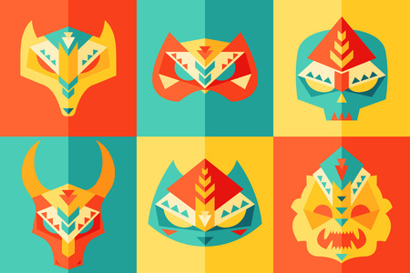fake mask: Set of tribal, ethnic, origami, animals, african mask set and disguises  flat design Illustration