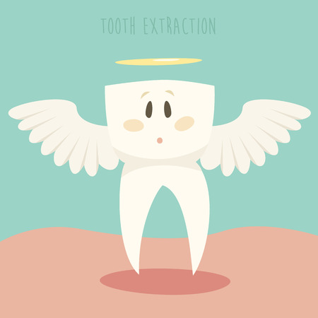 tooth extraction: Tooth extraction cute vector illustration flat design