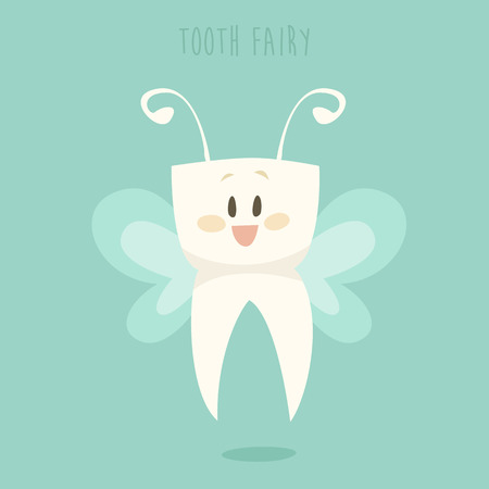 Tooth fairy, healthy white teeth vector illustration, flat design