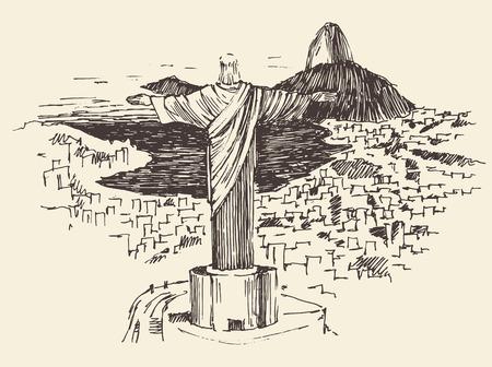 Rio de Janeiro city, Brazil vintage engraved illustration, Jesus Christ, hand drawn