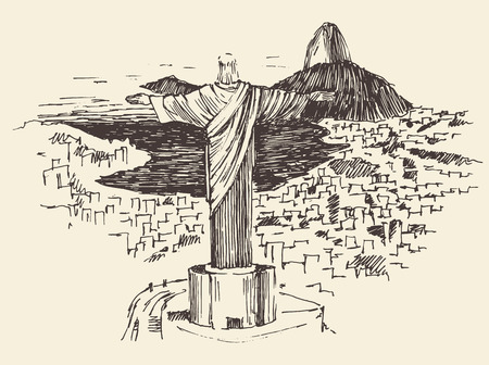cristo: Rio de Janeiro city, Brazil vintage engraved illustration, Jesus Christ, hand drawn