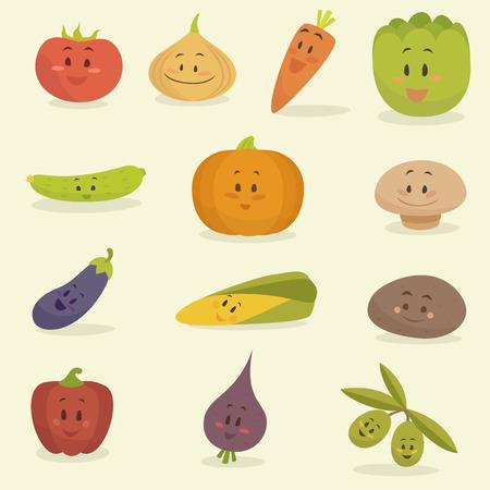 cebolla: Verduras divertidos dibujos animados conjunto ilustración vectorial, estilo plano Vectores