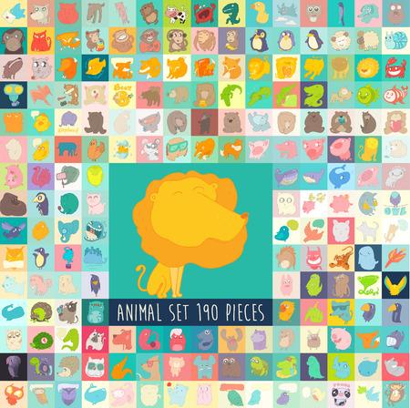 cute cartoon animals: Cute cartoon animals set, vector illustration, hand drawn