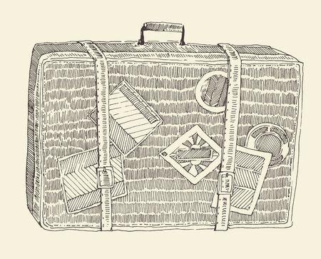 valise: Suitcase luggage vintage illustration, engraved retro style, hand drawn, sketch Illustration