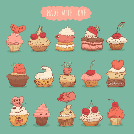 raspberry pink: Sweet cupcakes set illustration made with love retro style hand drawn vector Illustration