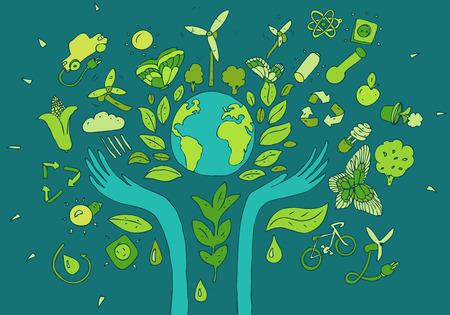 フレンドリーな環境, 緑エネルギーの概念、ベクトル図では、フラットなデザイン