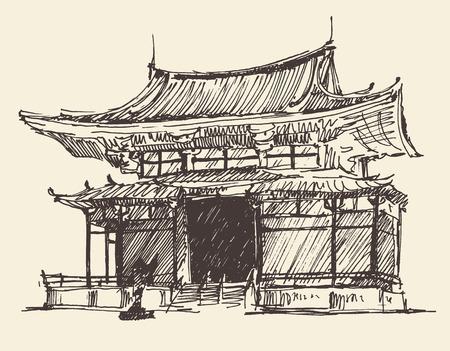 日本ランドマーク ビンテージ イラスト、レトロなスタイルの刻まれた、手描きのスケッチ ベクトルのスケッチ