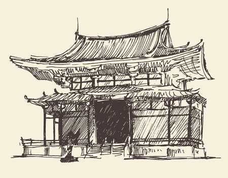 Sketch of Japan Landmark vintage illustration, engraved retro style, hand drawn sketch vector Illustration