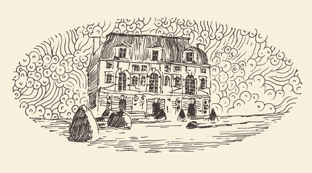 french culture: French province, wine label design, architecture vintage engraved illustration hand drawn sketch