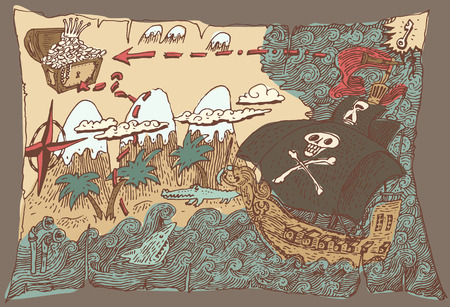 nautical map: Island Treasure Map, pirate map, engraved illustration, hand drawn Illustration