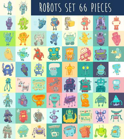 cartoon monster: Robots vector set, robot toy vector Illustration, hand drawing Illustration