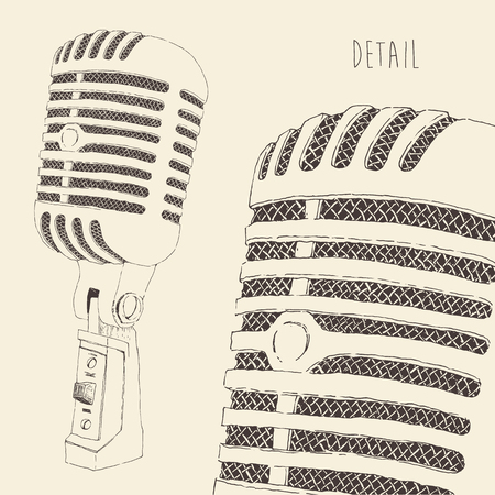 studio microphone: studio microphone vintage illustration, engraved retro style, hand drawn, sketch vector