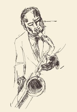 funk: JAZZ Man Playing the Saxophone  hand drawn, sketch vector Illustration