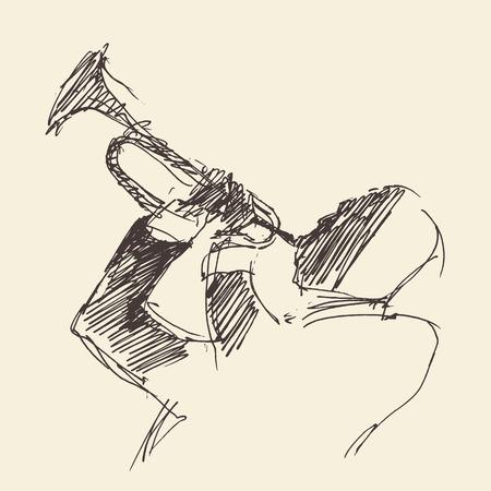 jazz man: JAZZ Man Playing the Trumpet  hand drawn, sketch vector Illustration