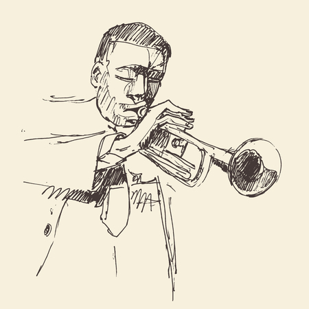funk music: JAZZ Man Playing the Trumpet  hand drawn, sketch vector Illustration