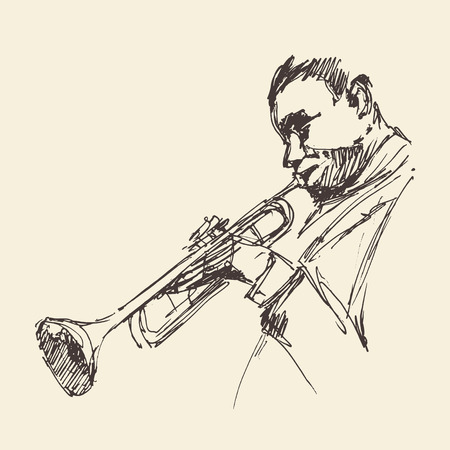 funk: JAZZ Man Playing the Trumpet  hand drawn, sketch vector Illustration