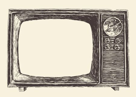 removable: Retro television with empty screen removable detail on screen isolated on background. Vector hand drawn engraved illustration.