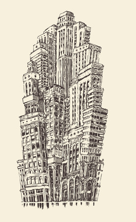 architecture: Skyscrapers, big city architecture vintage engraved illustration hand drawn sketch