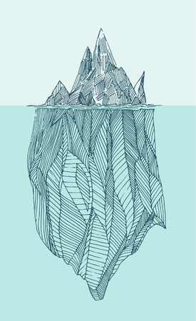 iceberg: Iceberg vintage engraved illustration hand drawn sketch