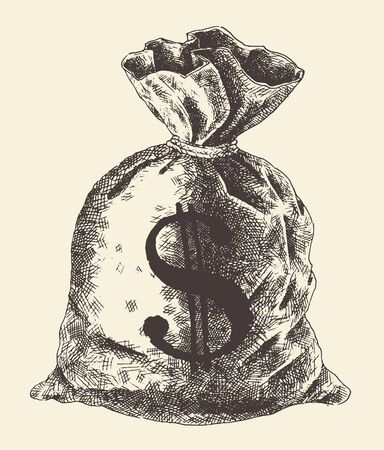 greenbacks: Money bag money vintage engraved illustration hand drawn sketch Illustration