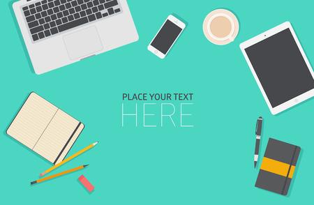 Conjunto de diseño de ilustración vectorial plano de la oficina de negocios moderno y espacio de trabajo. Vista superior de fondo de escritorio con ordenador portátil, dispositivos digitales, objetos de oficina con la libreta