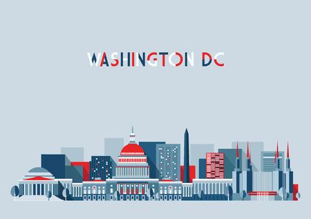 district of columbia: Washington, city architecture vector illustration skyline city silhouette skyscraper flat design
