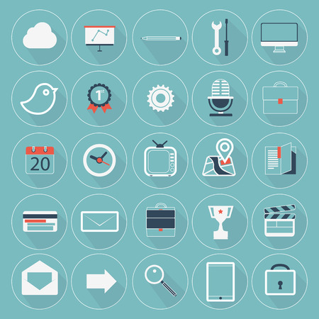 application icons: Set of modern vector flat icons with trendy long shadow for website and mobile application Illustration