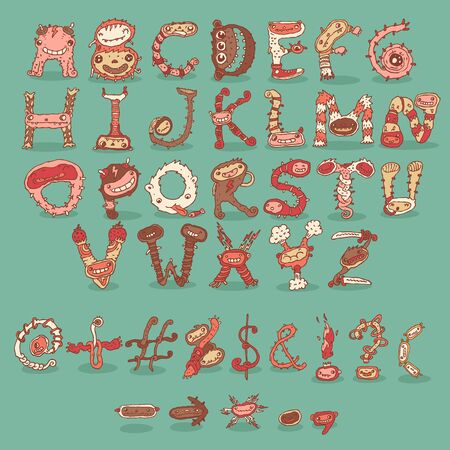 freaky: Cartoon freaky funny crazy vintage retro cartoon alphabet. Hand drawn vector illustration