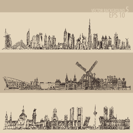madrid: City set Dubai, Madrid, Amsterdam big city architecture vintage engraved illustration hand drawn sketch