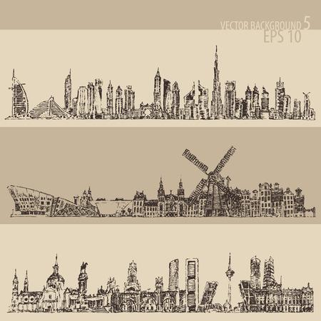 uae: City set Dubai, Madrid, Amsterdam big city architecture vintage engraved illustration hand drawn sketch