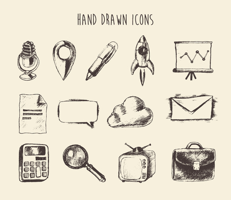 sketched icons: Colecci�n de iconos de red garabato dibujado a mano esbozado en tinta aislada en el fondo. Ilustraci�n vectorial