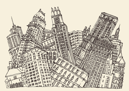 Big City Concept Architecture Engraved Illustration hand drawn sketch