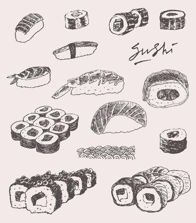 sushi roll: Sushi Set Hand drawn Engraving Vintage Vector Illustration
