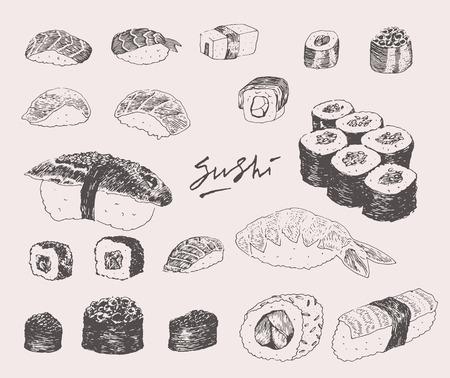 comida japonesa: Dibujado a mano Set de sushi Ilustración grabado de la vendimia del vector